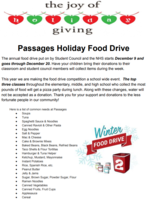 Annual Student Council and National Honor Society Passages Food Drive