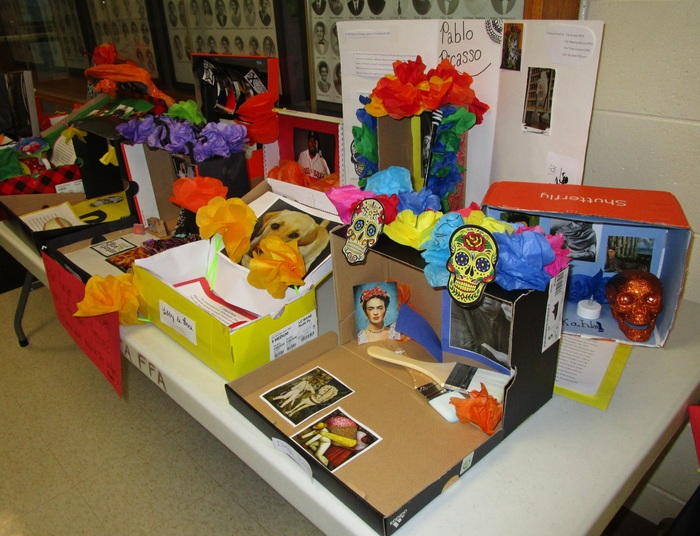 Day of the Dead altars, made by the Spanish classes.