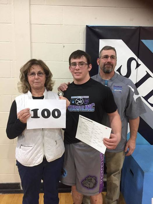 Colton Clary 100th win - w/Barb Clary (grandmother)  and Troy Clary (father and coach)