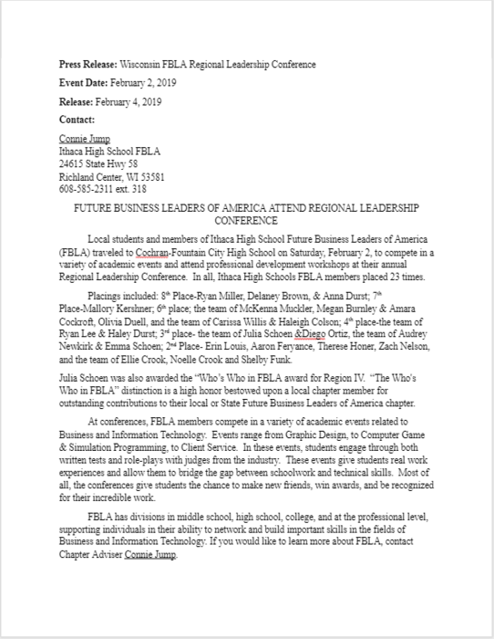 FBLA Regional Leadership Conference Press Release