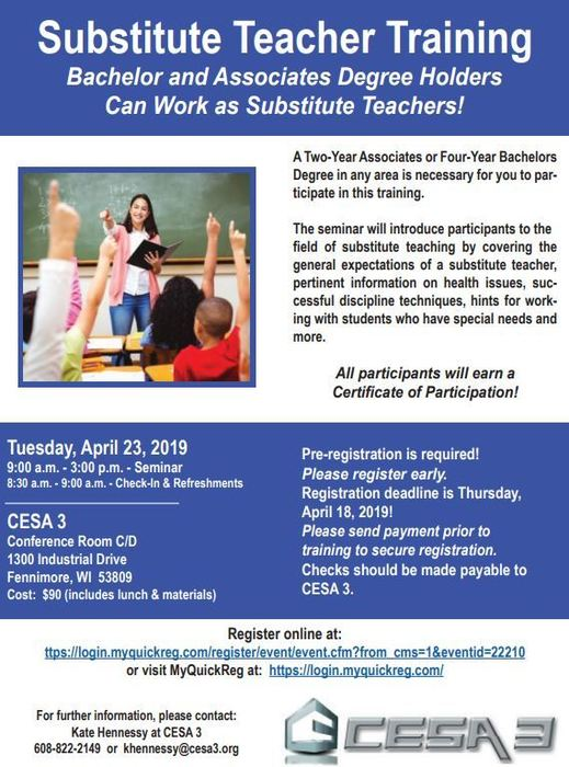 CESA Substitute teacher course.