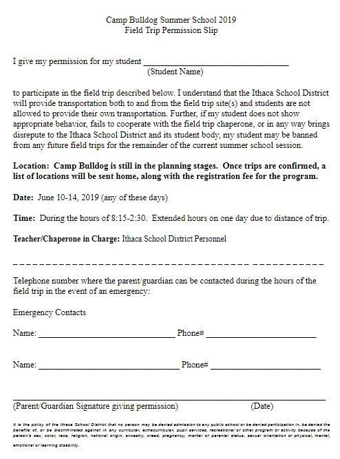 Camp Bulldog 2019 Permission Slip