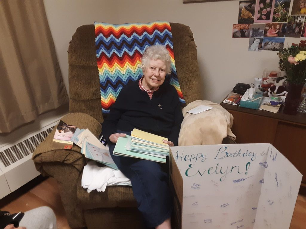 Ithaca students and staff wished Evelyn a happy 95th birthday