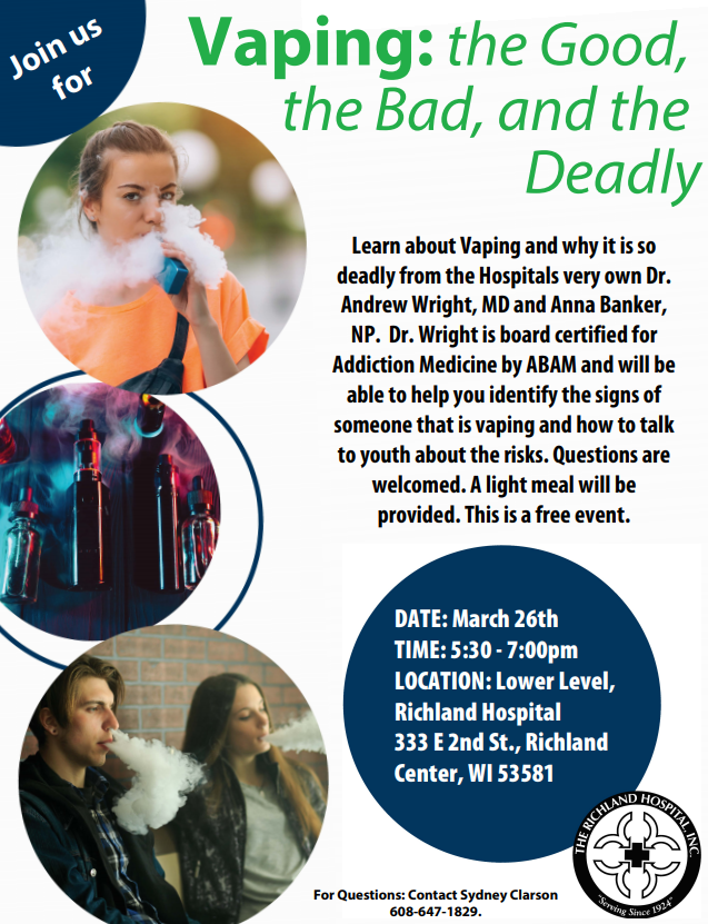 Vaping Seminar sponsored by the Richland Hospital