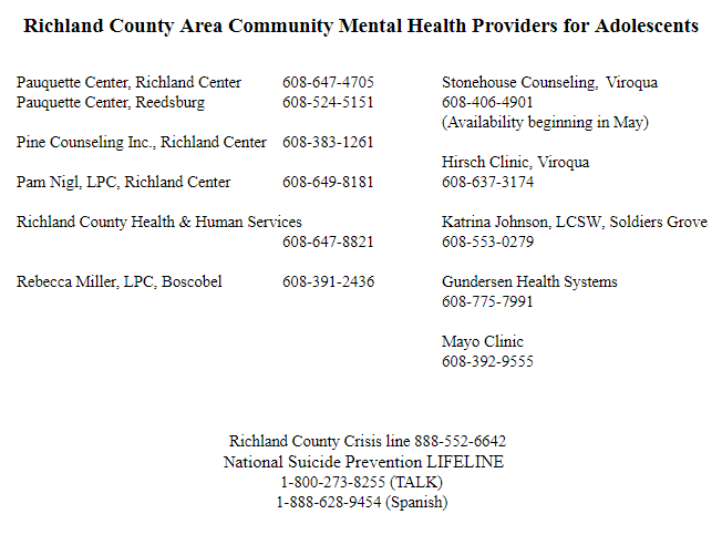 Richland County Area Mental Health Resources for Adolescents