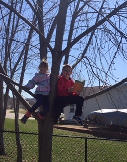 Brayden reads in a tree to his sister