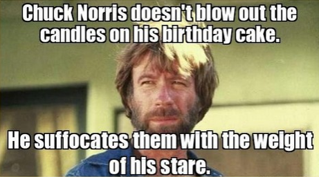 Chuck Norris takes care of his birthday candles