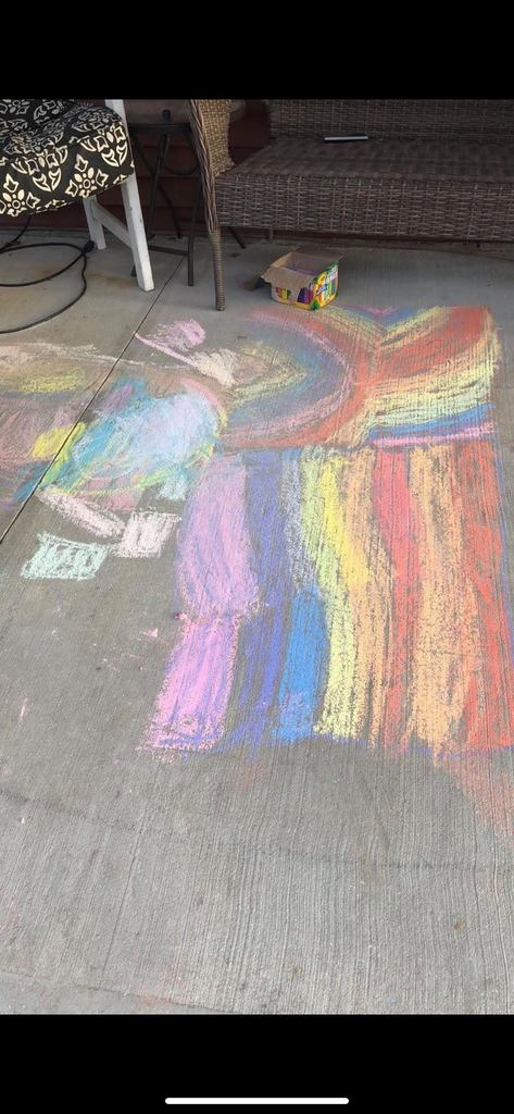 Oliver's chalk art of rainbow colors