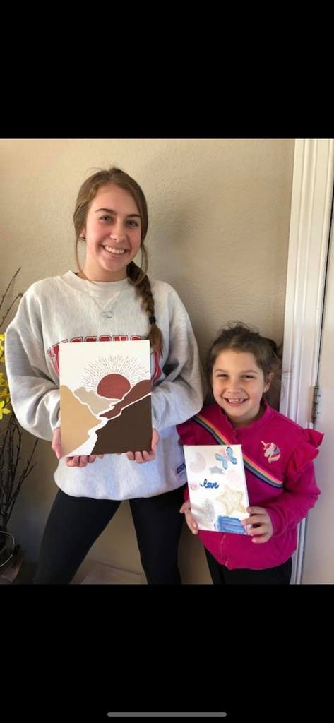 Alana and Elise with finished projects