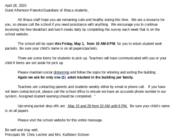 April 28th Letter from Principals Mr. Lechnir and Mrs. Schoen