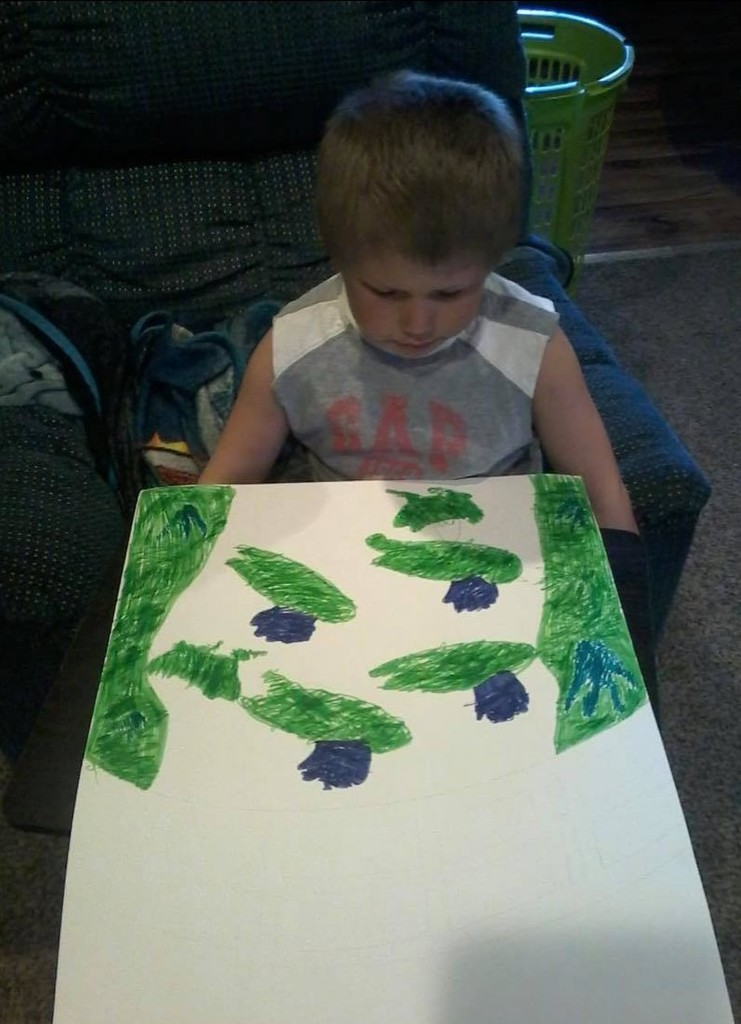 Tanner is drawing Monet's pond