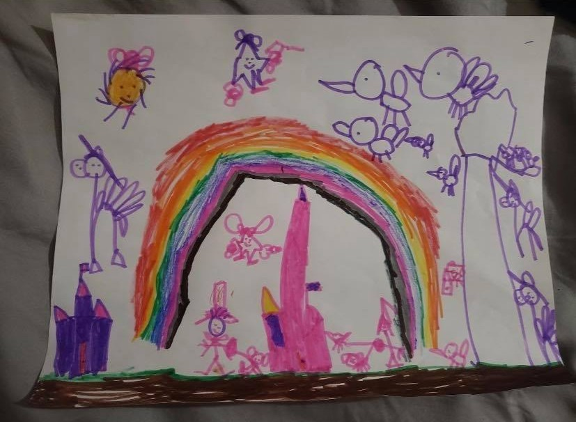 Ivie created this rainbow drawing