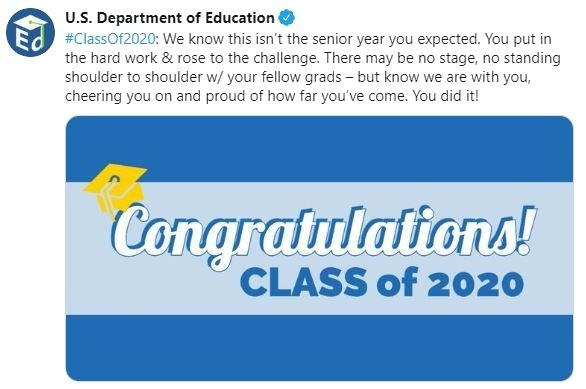 Congratulations from the US Department of Education