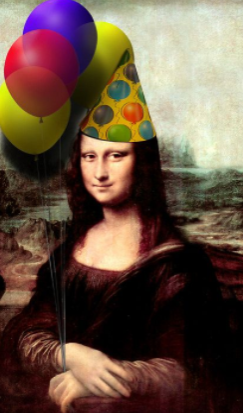 Mona Lisa gets her birthday gear on